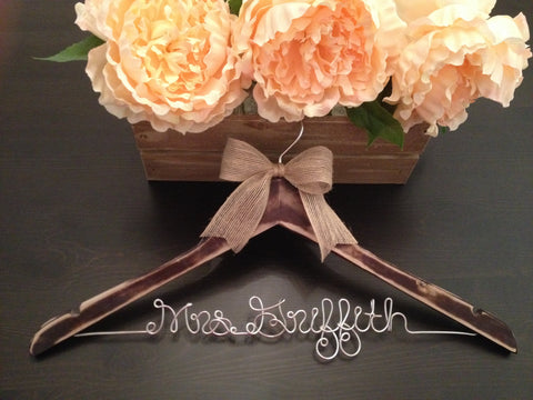 Rustic Wedding Hanger / Distressed Bridal Hanger / Bride Hanger / Wedding Hanger /  Rustic Wedding / Shabby Chic Wedding /Fall Wedding