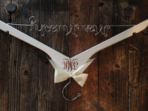 Wedding Monogram Hanger / Bride Hanger / Engraved Bridal Hanger / Monogram Wedding Hanger / Vintage Wedding / Rustic Wedding