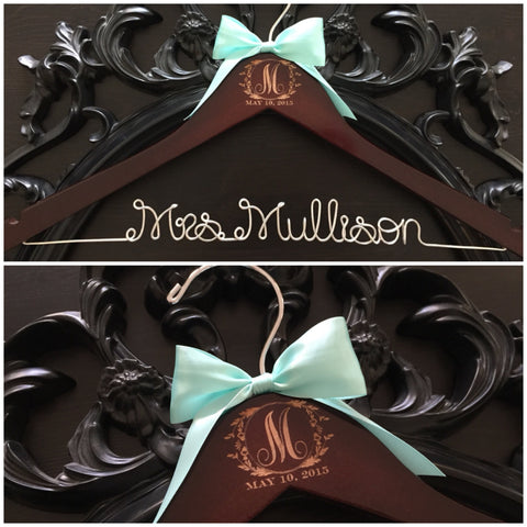 Wedding Hanger, Monogram Hanger, Bride Hanger, Wedding Monogram, Mrs. Hanger, Vintage Wedding, Rustic Wedding, Personalized Wedding Gift