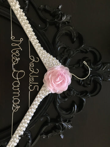 Brides Hanger, Bridal BLING Wedding Hanger, Bling Hanger, Glamorous Wedding Hanger, Personalized Name Hanger, Pearl Hanger, Mrs. Hanger