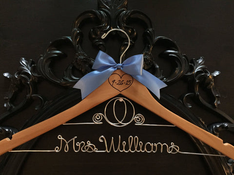 Disney Bride Hanger / Cinderella Hanger / Disney Wedding / Wedding Hanger / Personalized Hanger / Bridal Hanger / Burned Wedding Date