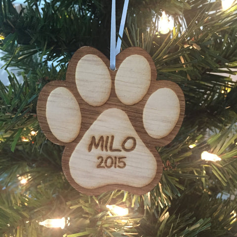Dog Paw Christmas Ornament, Dog Christmas Ornament, Personalized Christmas Ornament, Engraved Wood Christmas Ornament