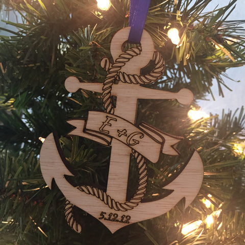 ORIGINAL CREATOR Anchor Christmas Ornament, Nautical Ornament, Nautical Wedding, Anchor Wedding, Beach Christmas Ornament, Boat Ornament