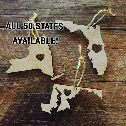 State Christmas Ornament, US States Christmas Ornament, Personalized Christmas Ornament, Wood Christmas Ornament
