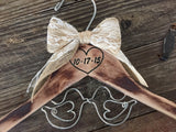 LOVE BIRDS Wedding / Rustic Bride Hanger / Shabby Chic Bridal Hanger / Brides Hanger / Distressed Hanger / Rustic Wedding Hanger