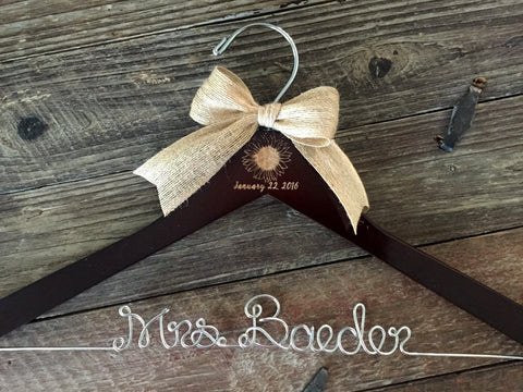 SUNFLOWER Wedding Hanger, Rustic Wedding Hanger, Personalized Bride Hanger, Rustic Wedding, Bridal Hanger, Sunflower Wedding, Mrs. Hanger