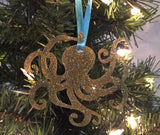 Octopus Christmas Ornament, Coastal Christmas Ornament, Christmas Ornament Gift, Glitter ornament, Coastal Christmas,