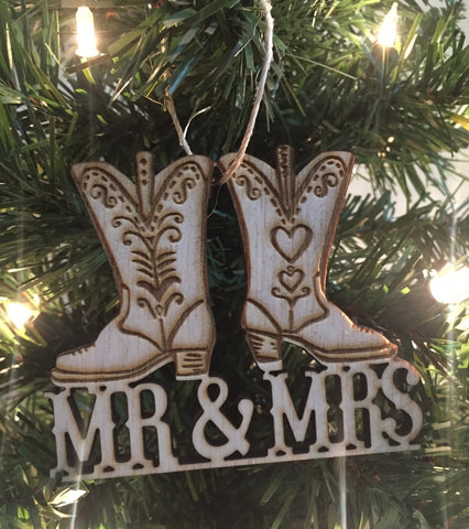 Cowboy Boots Christmas Ornament, Cowboy Christmas Ornament, Rustic Christmas, Country Christmas, Redneck Christmas Ornament,Wedding Ornament