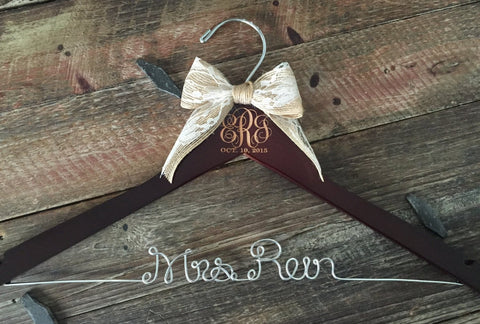 Monogram Bridal Hanger / Wedding Monogram / Bride Hanger / Engraved Wedding Hanger / Vintage Wedding / Rustic Wedding / Mrs. Hanger