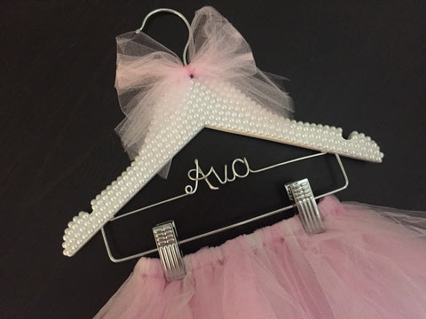 Tutu, Tutu Hanger, Children's Personalized Hanger, BLING Kids Hanger, Rhinestone & Pearl Hanger, Little Girls Hanger, Flower Girl Gift