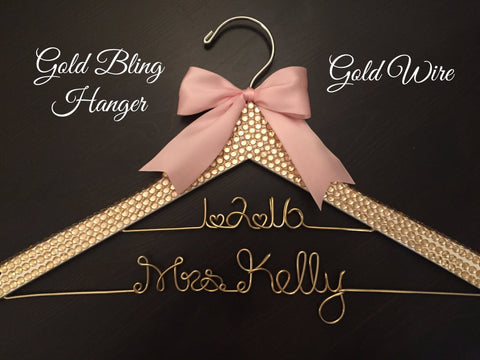 Gold BLING Wedding Hanger, Rhinestone Hanger, Bridal Hanger, Personalized Hanger, Gold Wire Hanger, Bride Hanger, Gold and Blush Wedding