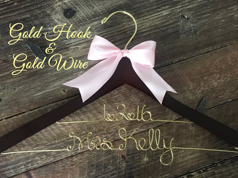 Gold Wire Wedding Hanger, Bridal Hanger, Personalized Bride Hanger, Gold Wedding, Brides Hanger, Mrs Hanger, Name Hanger, Personalized Gift