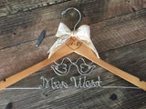 Wedding Hanger, Bridal Hanger, LOVE BIRDS Hanger, Love Birds Wedding, Brides Hanger, Rustic Wedding Hanger, Personalized Hanger, Name Hanger