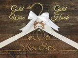 Cinderella Wedding Hanger, Disney Bride Hanger, Bridal Hanger, Mickey & Minnie Wedding, Disney Wedding, Personalized Hanger,Gold Wire Hanger