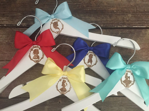 Bridesmaid Hangers, Princess Themed Bridesmaids, Bridesmaid Gift, Personalized Engraved Hanger, Bridesmaid Dress Hanger, Princess Wedding