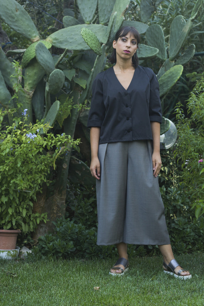 Italian Handmade Outfit Grey Culottes Black Shirt
