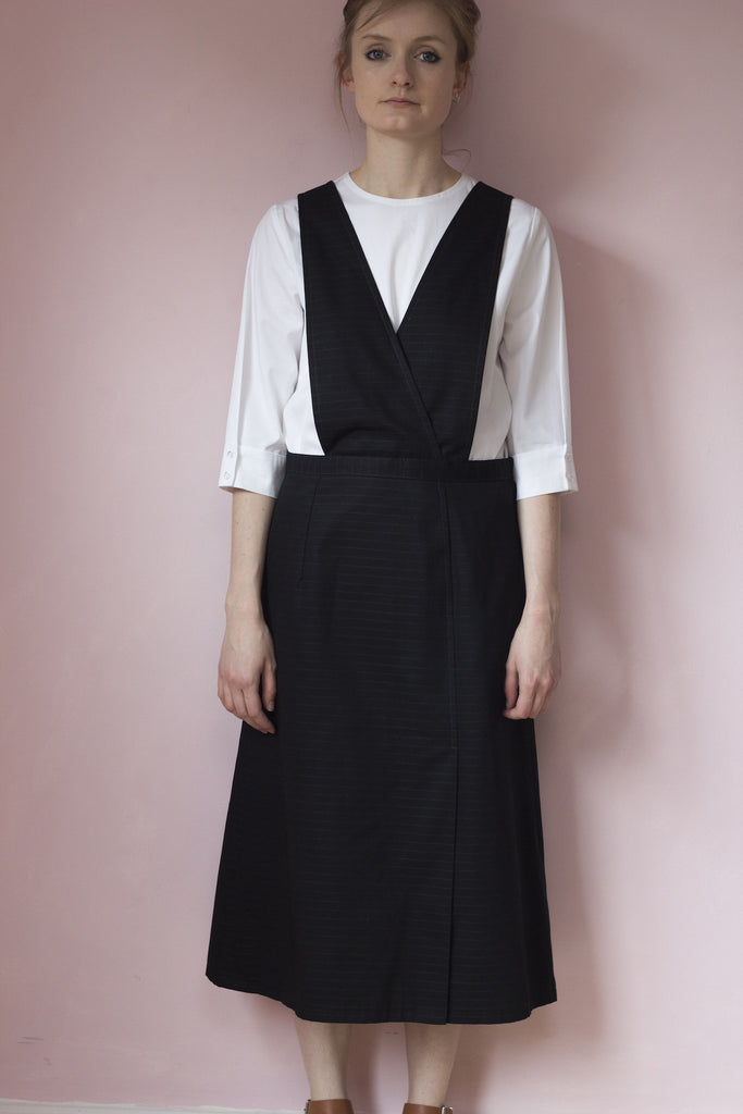Black cotton dungaree dress outfit