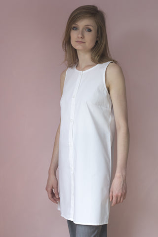 Cloe' White Cotton Shirt-Dress