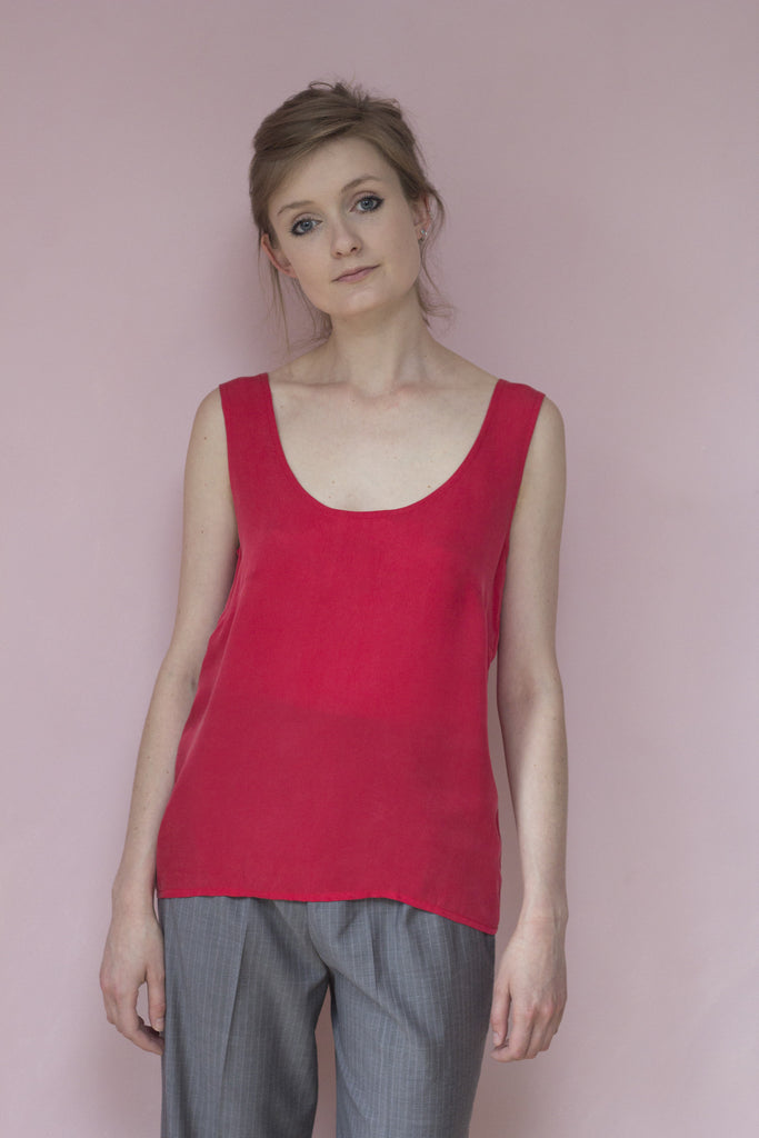 Red Silk Vest Top for Women