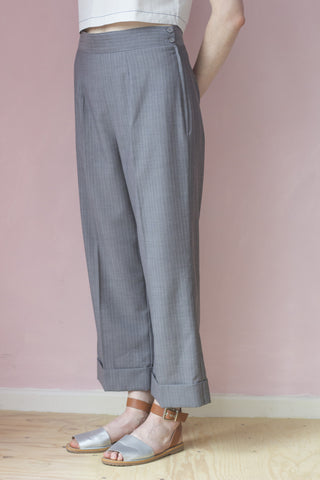 Italian Handmade Grey and Lilac Pinstriped Trousers with Pleats