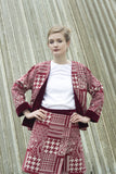 Red Tartan-esque Jacquard Jacket