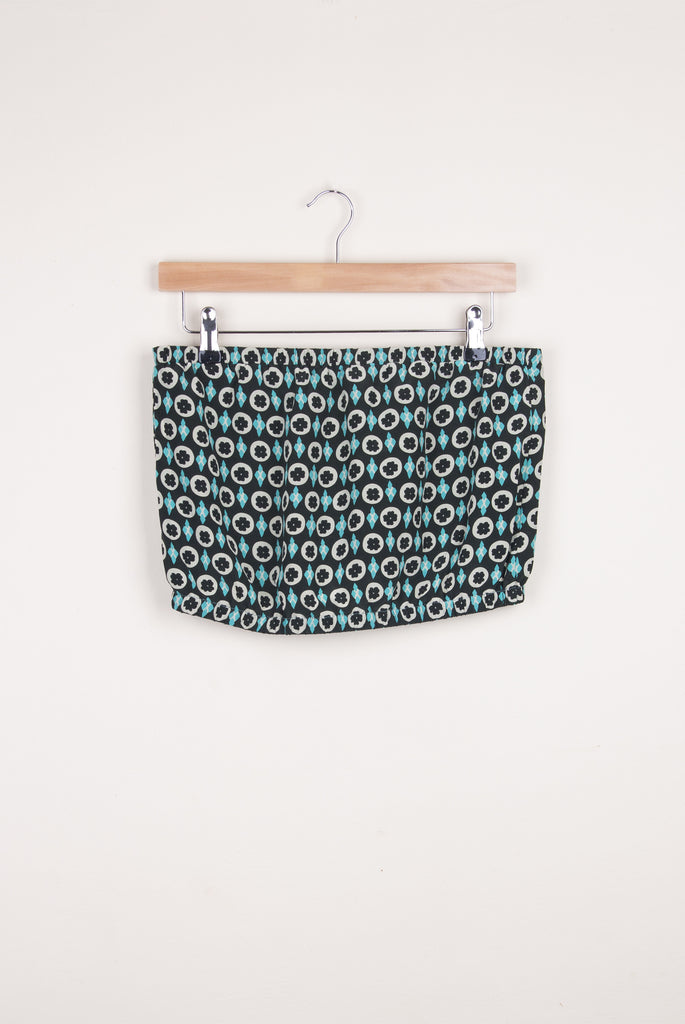 Green and Turquoise Floral Cropped Top