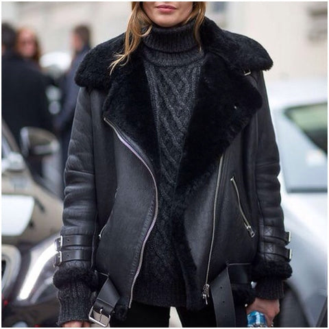 faux leather shearling aviator biker oversized jacket