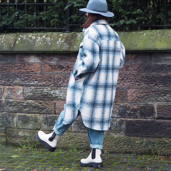 Full Length Blue Oversized Checked Shacket
