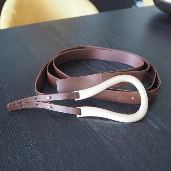 Brown Large Loop Double Strap Belt Bottega inspired