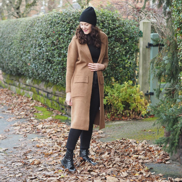 Camel Coatigan Cardigan Coat