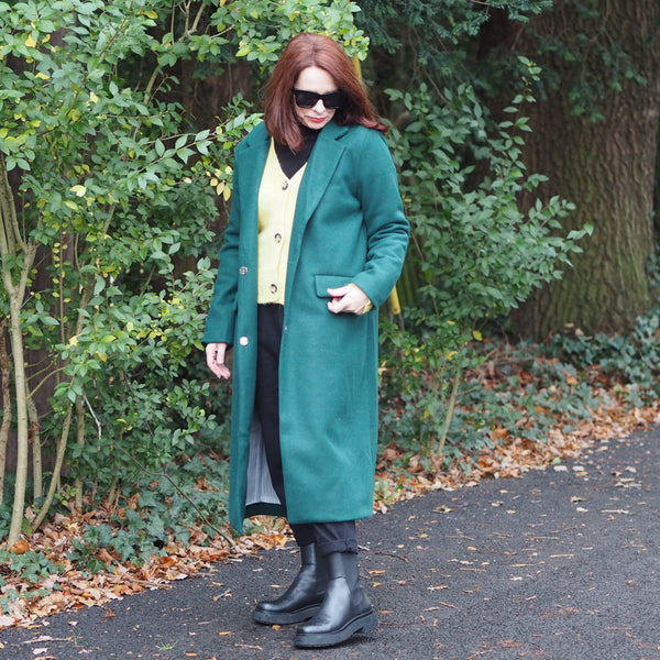 Forest Green Lined Full Length Coat