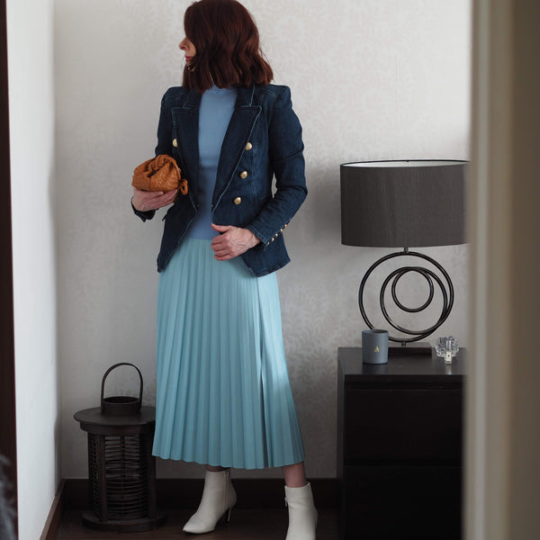 Powder Blue Pleather Pleated Skirt - Cover appeal