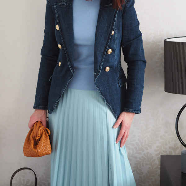 Cotton Double Breasted Denim Blazer - Cover appeal