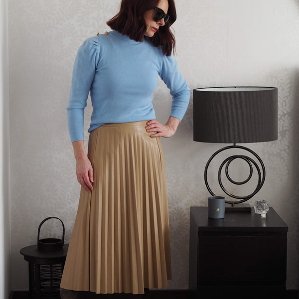 Camel Pleather Pleated Skirt - Cover appeal