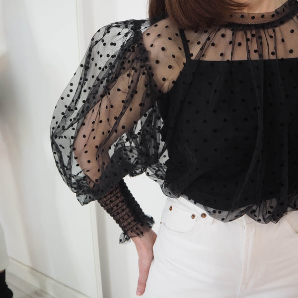 Black Polka Dot Sheer Blouse - Cover appeal
