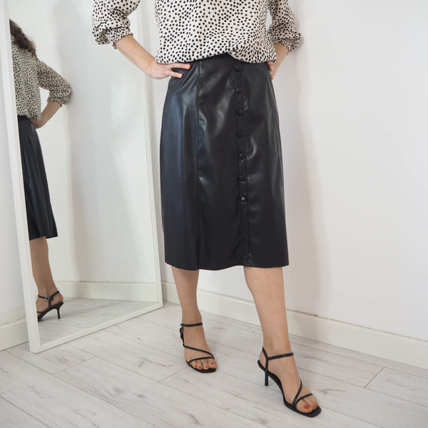 Pleather A Line Skirt - Cover appeal
