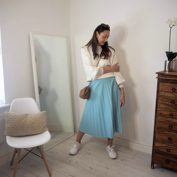 Powder Blue Pleather Pleated Skirt