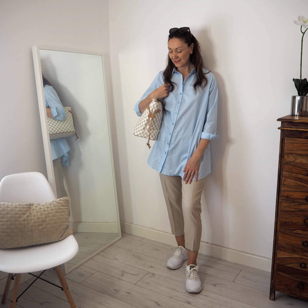Pale Blue Cotton Mix Oversized Shirt