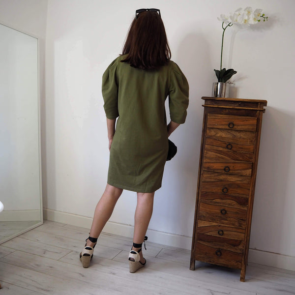 Khaki cotton shift dress