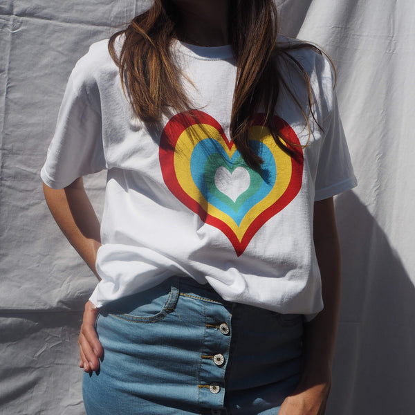 Cotton White Heart Logo Oversized T-Shirt