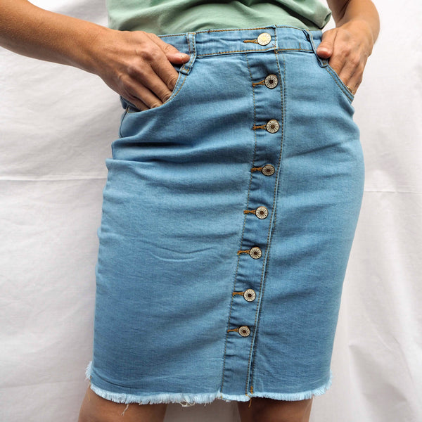 Chambray Blue Denim Skirt