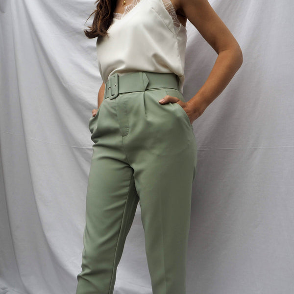 Pistachio High Waisted Trousers with Belt