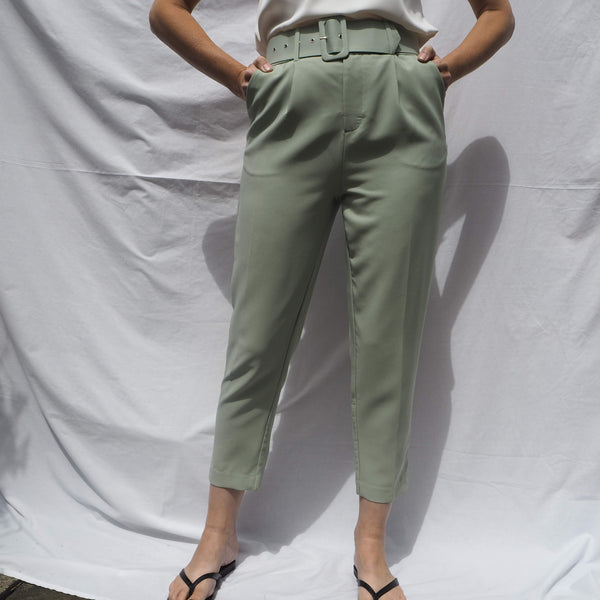 Pistachio High Waisted Trousers