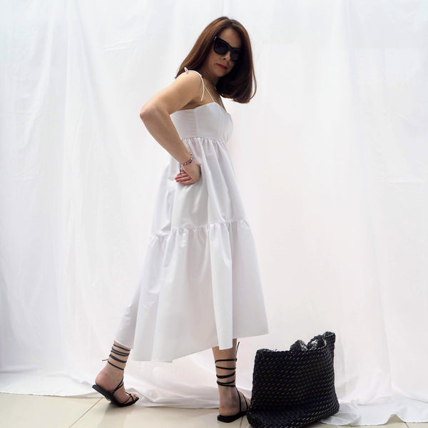 White Strappy Buffet Midi Dress