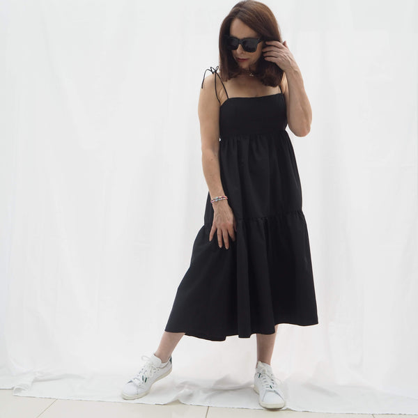Black Strappy Buffet Midi Dress