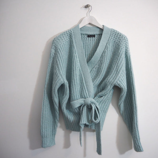 Pale pastel Blue wrap knit cardigan