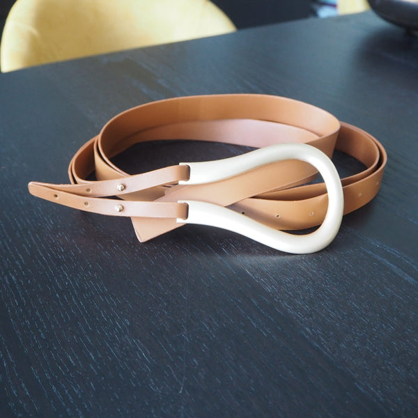 Tan Large Loop Double Strap Belt Bottega inspired