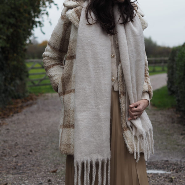 Winter White Oversized Fringed Edge Scarf