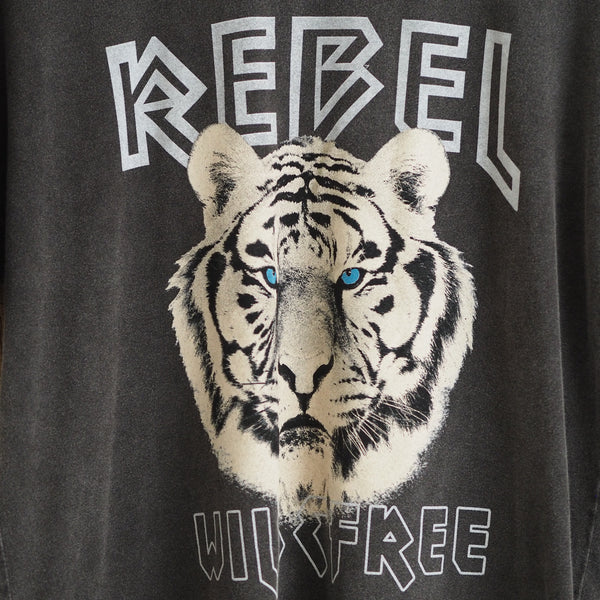 graphic charcoal distressed vintage tiger logo tee anine bing vibes