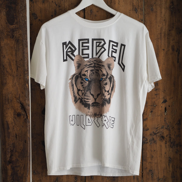 White cotton graphic logo tiger tee anine bing style
